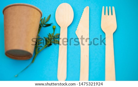 Zero waste, environmentally friendly, plastic without a background, disposable tableware, cardboard tableware, paper tableware, space for text, view from the top. Save the planet. #1475321924