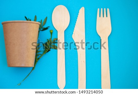 Zero waste, environmentally friendly, plastic without a background, disposable tableware, cardboard tableware, paper tableware, space for text, view from the top. Save the planet. #1493214050