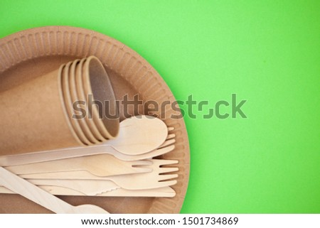 Zero waste, environmentally friendly, plastic without a background, disposable tableware, cardboard tableware, paper tableware, space for text, view from the top. Save the planet. #1501734869