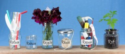 Zero Waste management, illustrated in 6 jars with text Refuse, reduce, recycle, repair, reuse, rot. Save money, eco lifestyle, sustainable living and zero waste concept