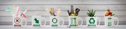 Zero Waste management, illustrated in 6 mugs with relevant contents. Refuse, reduce, recycle, repair, reuse, rot. Eco lifestyle, sustainable living and zero waste concept