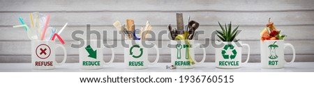 Zero Waste management, illustrated in 6 mugs with relevant contents. Refuse, reduce, recycle, repair, reuse, rot. Eco lifestyle, sustainable living and zero waste concept Stockfoto ©