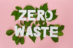 zero waste paper text witj green leaves on pink background