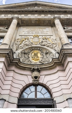 Zeughaus (old Arsenal) in Berlin - oldest structure at Unter den Linden. It was built by Brandenburg Elector Frederick III between 1695 and 1730 in baroque style. Architectural fragments.