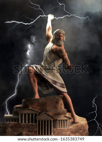 Zeus, the king of the Greek gods, stands upon Mount Olympus ready to hurl lightning bolts down upon the earth and mankind. 3D Rendering