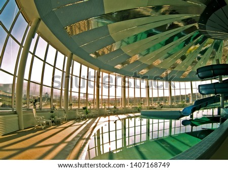 ZHELEZNOVODSK,RUSSIA - JULY 03,2007:Interior of the indoor pool in the resort Zheleznovodsk, Northern Caucasus, Russia. #1407168749