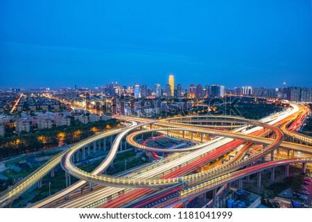 Zhengzhou Overpass Central Business District CBD High Angle of View #1181041999