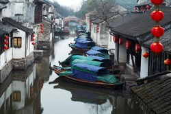 Zhouzhuang ancient Water town near Shanghai, on Chinese Spring Festival 2007