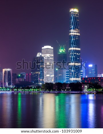 Zhujiang River and modern building of financial district at night in guangzhou china.