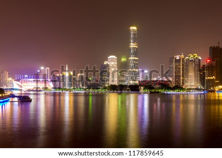 Zhujiang River and modern building of financial district at night in guangzhou china.