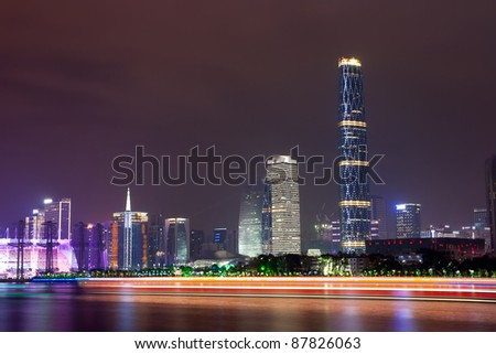 Zhujiang River and modern building of financial district in guangzhou china