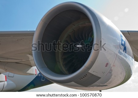 ZHUKOVSKY, RUSSIA - AUG 19: A380 aircraft jet engine at International aviation and space salon MAKS 2011 on August 19, 2011 in Zhukovsky, Russia