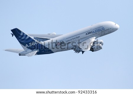 ZHUKOVSKY, RUSSIA - AUG 14: An Airbus A380 performs at the International Aviation and Space salon MAKS on Aug. 14, 2011 at Zhukovsky, Russia