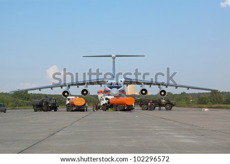 ZHUKOVSKY, RUSSIA AUG 15 - International Aviation and Space salon MAKS. Service of Emergency Situations Ministry plane IL-76 has arrived on Aug, 15, 2011 at Zhukovsky, Russia