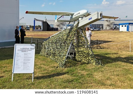 ZHUKOVSKY, RUSSIA �¢?? AUG 11: Static display Unmanned aerial vehicles (UAV) Filin-2 during 100th anniversary of Russian air force on August, 11, 2012 at Zhukovsky, Russia.