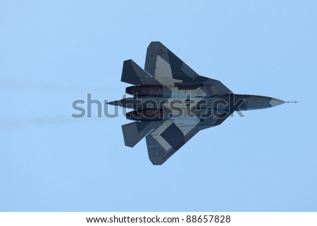 ZHUKOVSKY, RUSSIA - AUG 17: Sukhoi PAK FA T-50 (Prospective Airborne Complex of Frontline Aviation) at the International Aviation and Space salon (MAKS) on August 17, 2011 in Zhukovsky, Russia