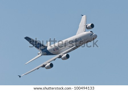 ZHUKOVSKY, RUSSIA - AUG 19: The Airbus A380 performs a demonstration flight at International aviation and space salon MAKS 2011 on August 19, 2011 in Zhukovsky, Russia