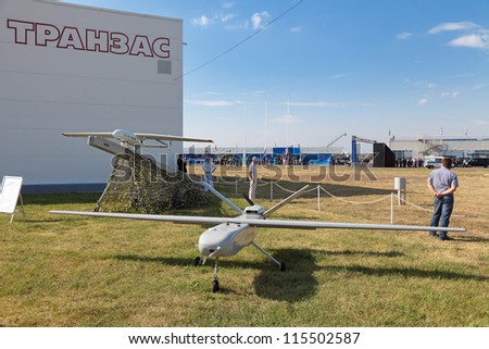 ZHUKOVSKY, RUSSIA - AUG 11: The celebrating of the 100 anniversary of Russian air force. August, 11, 2012 at Zhukovsky, Russia. The Unmanned aerial vehicles (UAV) the production of Transas