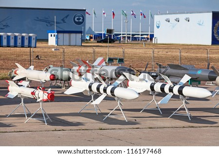 ZHUKOVSKY, RUSSIA - AUG 11: The celebrating of the 100 anniversary of Russian air force. August, 11, 2012 at Zhukovsky, Russia. Models of aviation armament, missiles of various purposes