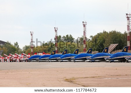 ZHUKOVSKY, RUSSIA - AUG 11: The celebrating of the 100 anniversary of Russian air force. August, 11, 2012 at Zhukovsky, Russia. Aircraft of the participants of the air show in the Parking lot