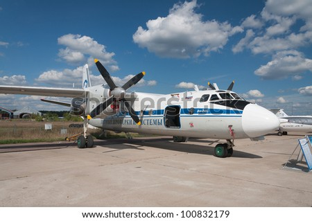 ZHUKOVSKY, RUSSIA - AUG 19: The Russian Soviet transport plane AN-26 display at International aviation and space salon MAKS 2011 on August 19, 2011 in Zhukovsky, Russia