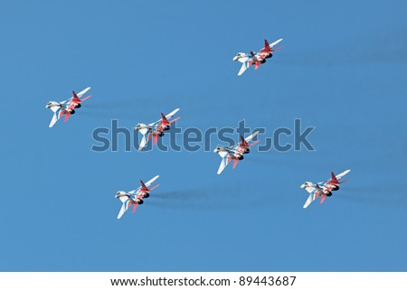 ZHUKOVSKY, RUSSIA - AUGUST 19: Aerobatic team Swifts (Strizhi) at the International Aviation and Space salon (MAKS) on August 19, 2011 in Zhukovsky, Russia