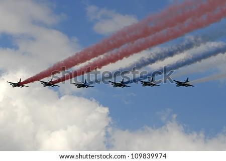 ZHUKOVSKY, RUSSIA - AUGUST 10: International Airshow 100 years the Russian Air Force. August 10, 2012 in Zhukovsky, Russia