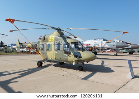 "ZHUKOVSKY, RUSSIA - AUGUST 16: Kazan ""Ansat"" light, multipurpose helicopter at the International Aviation and Space salon (MAKS) on August 16, 2011 in Zhukovsky, Russia"