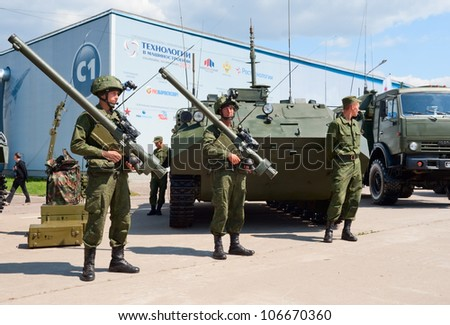 ZHUKOVSKY, RUSSIA - JULY 1: Russian Army soldiers demonstrate modern military equipment on the Forum ET-2012 on July 01, 2012 in Zhukovsky, Russia
