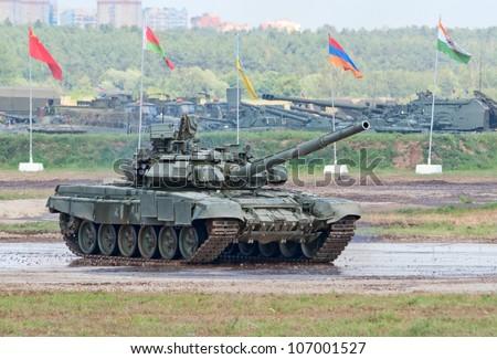 ZHUKOVSKY, RUSSIA - JULY 1: T-90A main battle tank rides on the Forum ET-2012 on July 01, 2012 in Zhukovsky, Russia