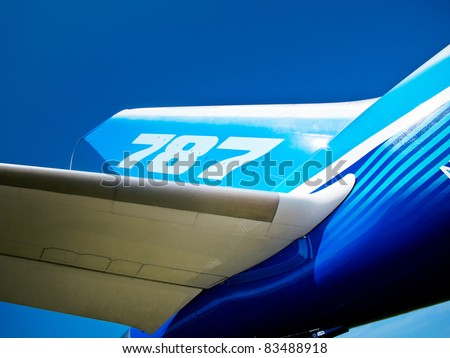 ZHUKOWSKY, RUSSIA - AUGUST 16: Tail and wing of 787 Boeing Dreamliner at International Aviation & Space Salon in Moscow MAKS, August 16 2011, Russia - stock photo