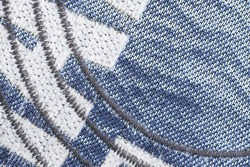 Zig-zag finishing stitch as an ornament on dense furniture fabrics for decor, Loose finishing stitching