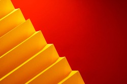 Zig Zag fold paper texture background, Red and Yellow Zigzag paper pattern background
