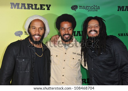 Ziggy Marley (left), Robbie Marley & Rohan Marley at the Los Angeles premiere of Marley at the Cinerama Dome, Hollywood. April 17, 2012  Los Angeles, CA Picture: Paul Smith / Featureflash