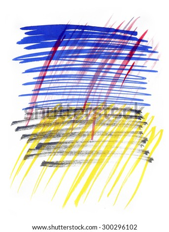 Zigzag Blue Yellow Red Ink Brush Stroke White Isolate Background  Raster Background for Printing Design
