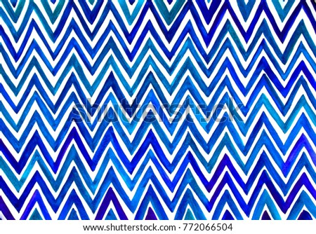 zigzag patterns made of watercolor strok by hand in cyan, blue, violet shade as modern background. #772066504