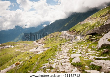 Zigzag road in mountains, Himalayas, Rohtang Pass, North India