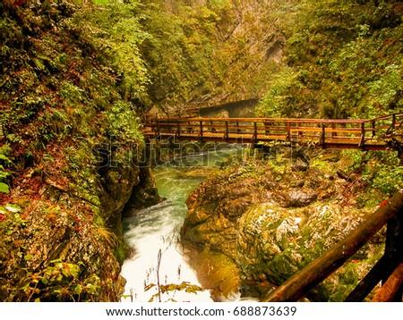 zigzag shape wooden bridge over ...