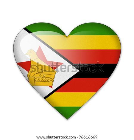 Zimbabwe flag in heart shape isolated on white background - stock ...