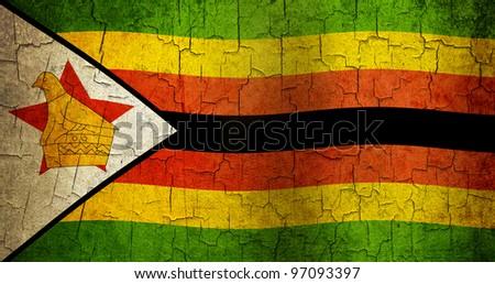 Zimbabwe flag on a cracked grunge background - stock photo