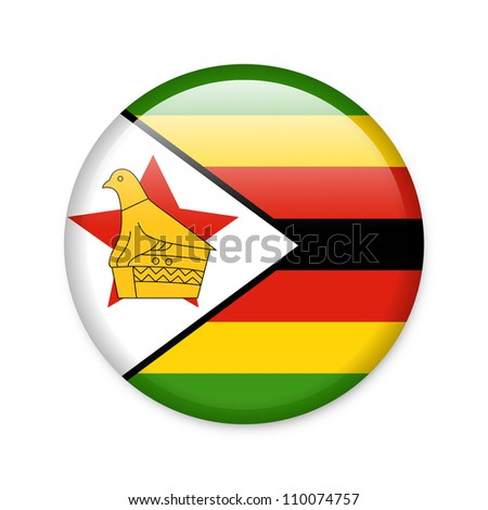 Zimbabwe - glossy button with flag