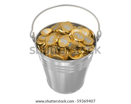 Zinc bucket with golden coins. Isolated on a white