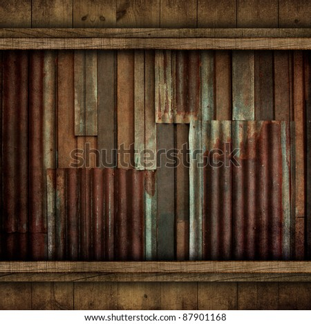 zinc pattern with wooden frame