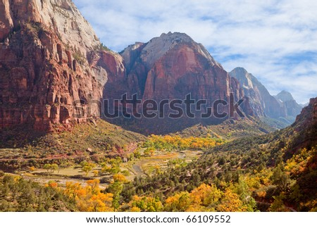 Zion Canyon valley in full autumn glory.