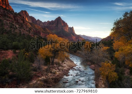Zion National Park's iconic Watchman at dusk #727969810