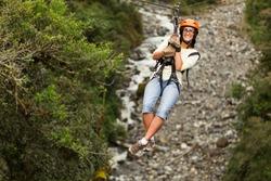 zip line canopy sport woman river jungle adrenaline travel rush zipline zipline adventure in ecuadorian rain forest banos de agua santa zip line canopy sport woman river jungle adrenaline travel rush