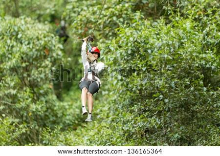 Zipline adventure in Ecuadorian rainforest, Banos de Agua Santa