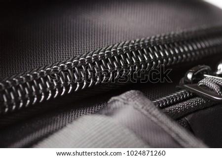 Zipper black bag backpack textile accessories macro #1024871260
