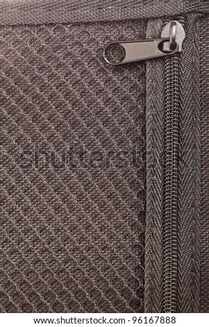 zipper in black texture material