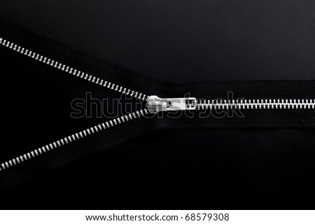 Zipper on black background.